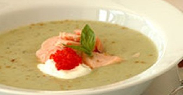 Cucumber Soup with Smoked Salmon